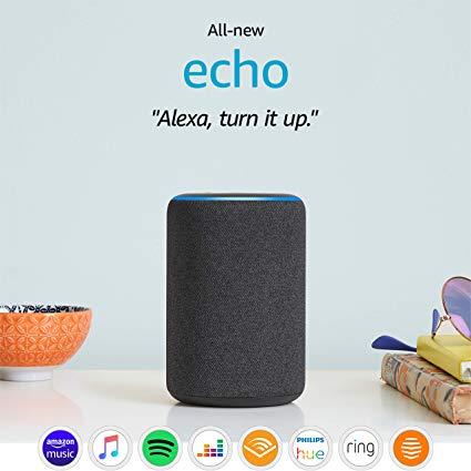 Une enceinte Echo avec Alexa