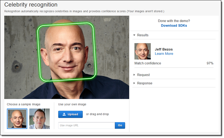 Capture d'écran du logiciel Rekognition d'Amazon