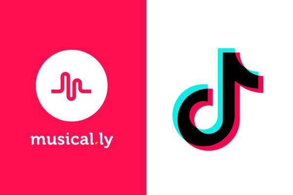 Logo de Musical.ly et de TikTok pour la fusion