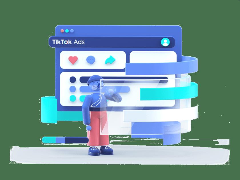 Personnage créant une TikTok Ads